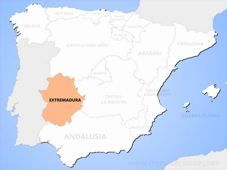 Map showing the position of Extremadura, the cheapest place to buy property in Spain